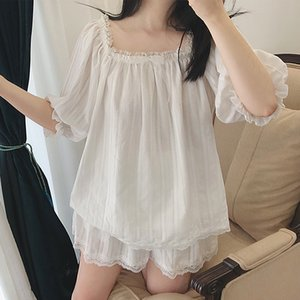 Wholesale Cute Women s Lolita Pajama Sets Cotton Ruffle Tops Shorts Vintage Ladies Girl s Lace Pyjamas set Victorian Sleepwear Loungewear