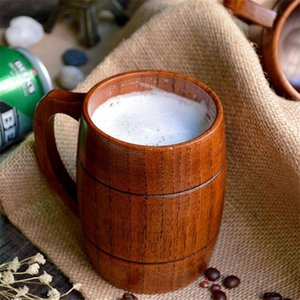 Wholesale chocolate mug resale online - 1pc Classic Style Natural Wood Cup Wooden Beer Mugs Drinking For Party Novelty Gifts Eco friendly ml New Promotion