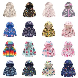 Wholesale Kids Boys Girls Jacket 39 Colors Hooded Cartoon Flower Butterfly Printed Coat Long Sleeve Zipper Casual Jacket Baby Outwear