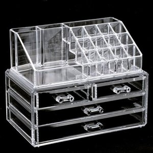 Wholesale Clear Makeup Case Drawer grid Cosmetic Organizer Jewelry Storage Acrylic Box