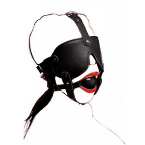 Wholesale Leather Black Rubber Mouth Gag BDSM Blindfold Head Harness Sex Product Mask Restraint Bondage Adult Sex Toys For Women Couples