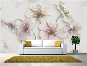 Wholesale 3d mural wallpaper flower for home resale online - Custom photo d wallpaper European jewelry flowers background living room home decor d wall murals wall paper for walls d