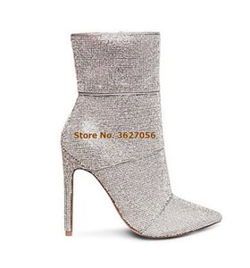 Wholesale Women High End Silver Bling Bling Crystal Ankle Boots Stiletto Heels Pointed Toe Glitter Wedding Shoes Dress Boots Shining Pumps