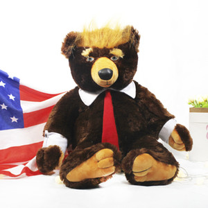 50 60cm Donald Trump bear stuffed animal toy cool USA president bear with flag cute election flag Teddy bear doll plush toy kids gift