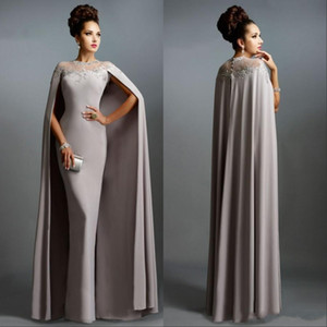 Wholesale gray plus size mother bride dresses for sale - Group buy Vintage Formal Sheath Evening Dresses with Long Cape Lace Mother of the Bride Formal Party Plus Size Prom Gowns