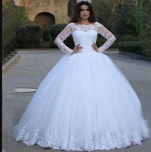 Wedding dresses hot selling long lace sleeve sexy classic beautiful bridal dress decoration skirt bohemian wedding dress bridal gowns on Sale