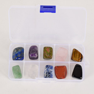 Wholesale crystal rocks minerals resale online - 10pieces set Big Size Natural Chakra Tumbled Stone Gemstone Rock Mineral Crystal polish Healing meditation for feng shui decor