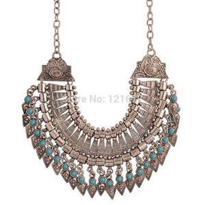 Wholesale New Bohemian Fringe Tassel Collar Statement Necklace Vintage Boho Gypsy Silver Festival Turkish Ethnic Chunky Pendants Necklace