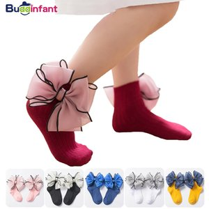 Wholesale Baby Kids Socks Girl Children Princess Sock Lace With Bow Frilly Girls Ankle Socks Cotton White Pink Dress Sock Ruffles Wedding