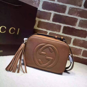 Wholesale with original box many colors G Soho real genuine Leather Disco Bag soft cowhide Tassel BAG cross body Satchel women handbag purse