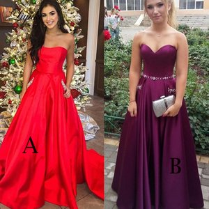 Wholesale Sweetheart A Line Prom Dress Satin Beaded With Pockets Sweep Train Lace Up 2019 Formal Evening Party Gowns Custom Made Liyuke