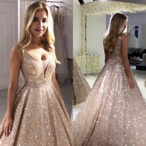 Wholesale Vintage Rose Gold Sequined Prom Dresses Sparkle A line V neck Evening Gowns Sexy Backless Abiye Party Dress Robe De Soiree