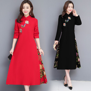 Wholesale 2019 women embroidery flower cotton and linen cheongsam dress chinese bride wedding dress half sleeve evening qipao party gowns