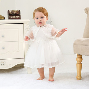 Newborn Girls Princess Dress 0-24M Solid Cotton Back Bow Strap Christening Gown Kid Designer Party TUTU Dress Lace Shawl White Appliqued Hat