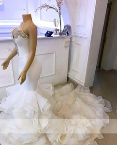 Wholesale organza lace mermaid wedding dress for sale - Group buy Arabic Mermaid Wedding Dresses Sweetheart Crystals Organza Ruffles Bridal Gowns Long Robe De Mariee Lace Up Back