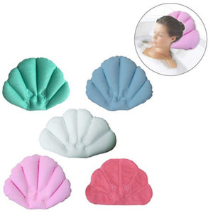 Wholesale bath pillows resale online - 2019 Soft Bathroom Pillow Home Comfortable Spa Inflatable Bath Cups Shell Shaped Neck Bathtub Cushion Bathroom Accessories LX6