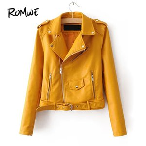Wholesale Faux Leather Buckle Belt Epaulet Detail Moto Jacket Glamorous Yellow Womens Outer Posh Long Sleeve Women Coat