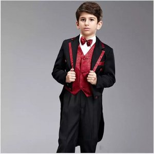 Wholesale Black Tailcoat Boys Formal OccasionTuxedos Peak Lapel Double-Breasted Kids Wedding Tuxedos Child Holiday Party Suit(Jacket+Pants+Tie+Vest)6