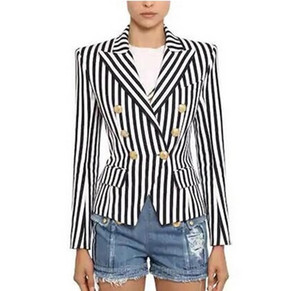 Top Quality Original Design Women's Branded Classic Stripe Blazer Double-Breasted Business Wear Metal Buckles Blending Outwear Black Navy