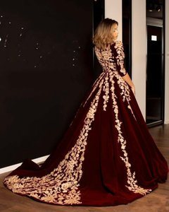 Wholesale 2019 Burgundy Velvet Prom Dresses Kaftan Caftan Evening Formal Dress Half Sleeve Gold Luxury Lace Applique Arabic Dubai Abaya Occasion