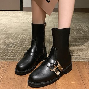 Wholesale Rimocy Black Leather Winter Boots Women Fashion Double Buckle Thick Sole Waterproof Mid Calf Boots Woman Hi street Shoes Female