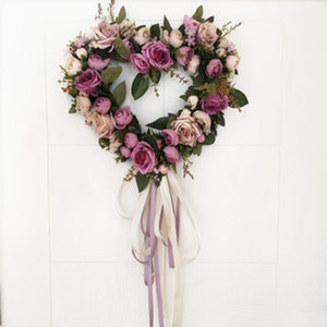 Wholesale Romantic Heart Shaped Silk Rose Artificial Flowers Door Wall Hanging Decor Garland Wreath Wedding Party Flower Background Props Y19061103