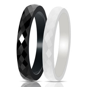 Wholesale mode rings resale online - New Mode Style Black And White Ring Cut Wide Light Ceramic Rings For Women Cut Surface Jewelry Fashion Women Ring