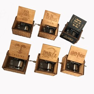 Wholesale 40 designs Wood Music Box Game of Thrones Harri Potter Wooden Music Box Antique Carved Wooden Hand Crank Music Boxs Birthday Gift