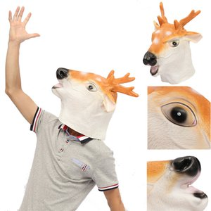 Wholesale Cosplay Cute Halloween Deer Head Full Mask Latex Animal Zoo Party Costume Prop Head Toys Party Decoration
