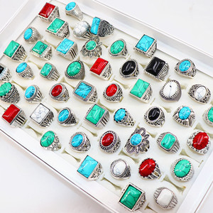 Wholesale Vintage turquoise stone antique silver rings carved flowers jewelry rings For Men women Party Wedding Gift