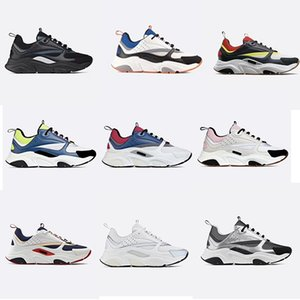 Wholesale Designer B22 Canvas and Calfskin Sneaker Vintage Technical Knit Shoes Men Women Flat Trainer Real Leather Platform Sneakers colors US12