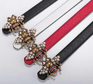 Wholesale 2019 bee animal motif leather belt with beaded lady leather belt red classic leather belt