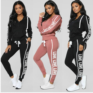 Wholesale 3 Colors Womens Two Piece Sets 2019 Slim Casual Tops and Skinny Pants Set Female Sweatsuit Printed 2 Piece Tracksuit