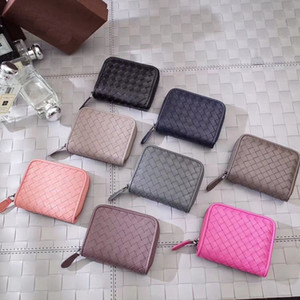 Hot Sell High Quality Soft Crafted handwoven zip-around Leather Coin Purses Coin Pouches Card Case Small Leather Bag Gift Box Many colors on Sale