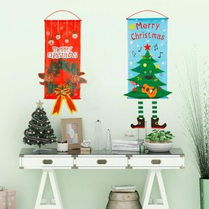 Wholesale store cloth for sale - Group buy Christmas Decoration flags Window Wall Pendant Creative Hang Flag Santa Snowman Cloth Xmas Christmas Decorations for Home Store LXL491 A
