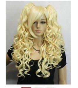 Wholesale YU YING Wig fashion blonde long curly cosplay full wig two pigtails