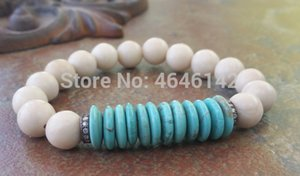 Wholesale CZ Micro Pave Ball Bracelets RiverStone Roundel Howlite Turquoises Beads Bracelet