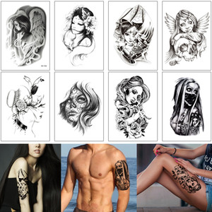 Wholesale cool girl tattoos for sale - Group buy Sketch Fake Black Cool Woman Waterproof Tattoo Masked Girl Cowgirl Angel Design Sexy Temporary Tattoo Sticker for Unisex Man Body Makeup DIY