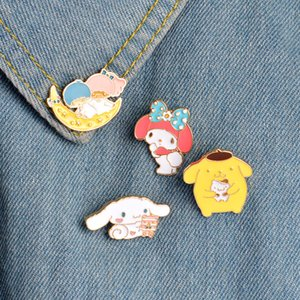 Wholesale Enamel Moon Bear Rabbit Brooch Pins Lapel Pins Badge Fashion Jewelry Women Men Kids Christmas Gift