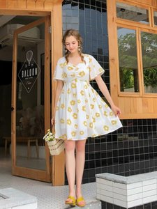 Wholesale DE Sexy Short Illusion Princess Yellow Dress Flower Dress V Neck Design Plus Size Dress Stylish