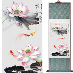 Fish painting Silk scroll paintings traditional art Chinese painting20190912023 on Sale