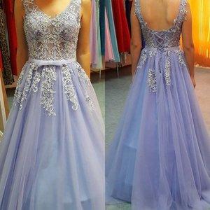 Real picture Lavender Prom Dresses Long A Line V Neck Full Length Appliques Fashion Evening Gowns For Formal Prom Wear Plus Size Backless on Sale