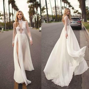 2019 Vintage Muse By Berta Bohemian Wedding Dresses A Line Lace Applique Side Split High Neck Sexy Beach Wedding Gown Plus Size EH2 on Sale