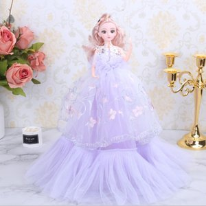 Wholesale 18in Girls Princess Wedding Dress Noble Party Gown Doll Accessories Fashion Design Outfit Best Gift Girl Baby Toys Decoration