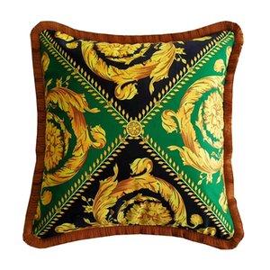 50cm Art LE VASE Medusa Barocco Designer Printing Fall Throw Pillows Covers Velvet ThickenTassel Cushions Case Creative Home Collections