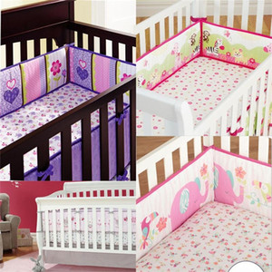 Wholesale cribs sales resale online - Baby Crib Bedskits Color Mix Flowers Elephant Printing Safety Bedding Surrounding Cartoon Child Bed Curtain Hot Sale dh E1