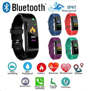 Wholesale ID115 plus Smart Bracelet Fitness Tracker Step Counter Activity Monitor Band Heart Rate Blood Pressure Monitor Wristband for Iphone Android