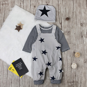 Baby Girls Christmas Outfits Kids Clothing Long Sleeve 0-18M Cotton 3-piece Top+ Pants +Cap Clothing Sets on Sale