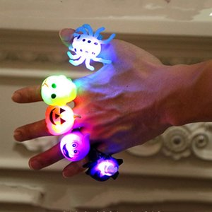 new 5 styles Halloween led ring Pumpkin Finger Ring ghost rings light Halloween cartoon Smart RingsLED gloves T2I5352