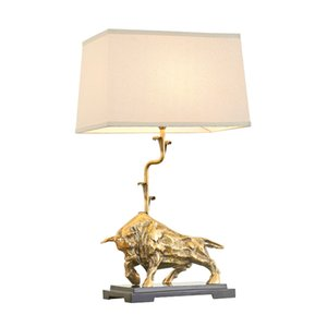 New design American copper bull table lamps decorative desk lights luxury gold desk lamps bedroom study room bedside led table lights on Sale